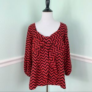 Red & Black Chevron Print top with large Bow Med